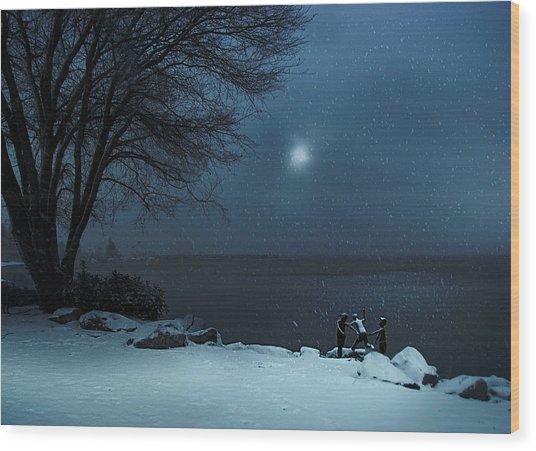 Moonlight Romp Wood Print