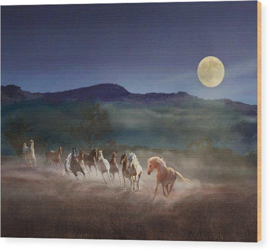 Moonlight Run Wood Print