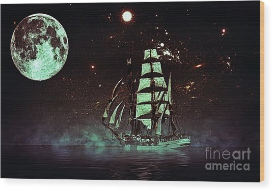 Moonlight Sailing Wood Print
