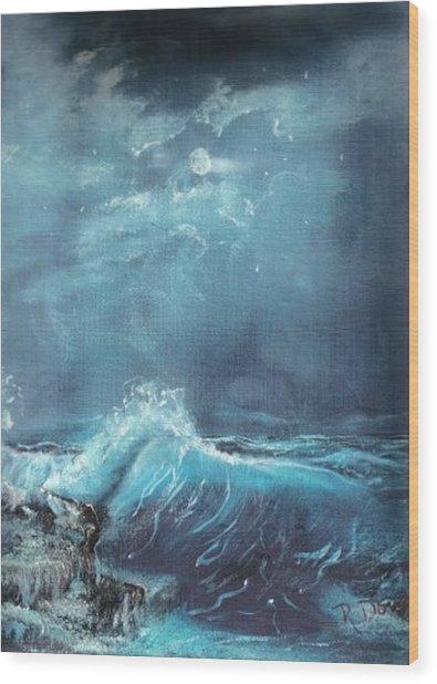 Moonlight Surf Wood Print by Raymond Doward