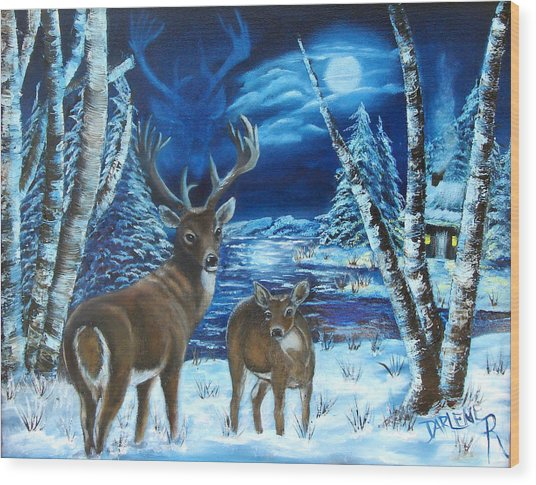 Moonlight Walk Wood Print by Darlene Green
