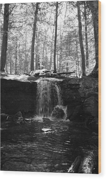 Moonlight Waterfall Wood Print