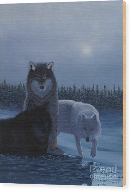 Moonlight Wolves Wood Print