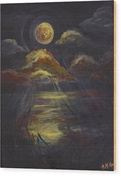 Moonlit Beach Guam Wood Print