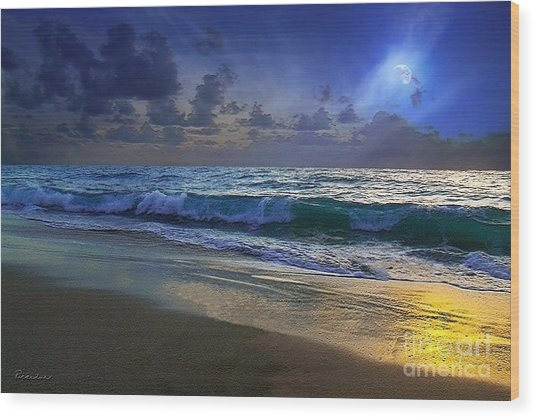 Moonlit Beach Seascape Treasure Coast Florida C4 Wood Print