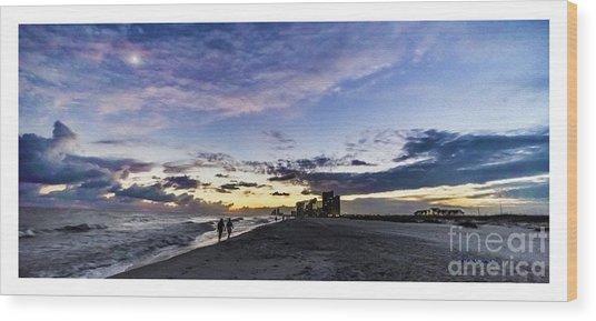 Moonlit Beach Sunset Seascape 0272b1 Wood Print