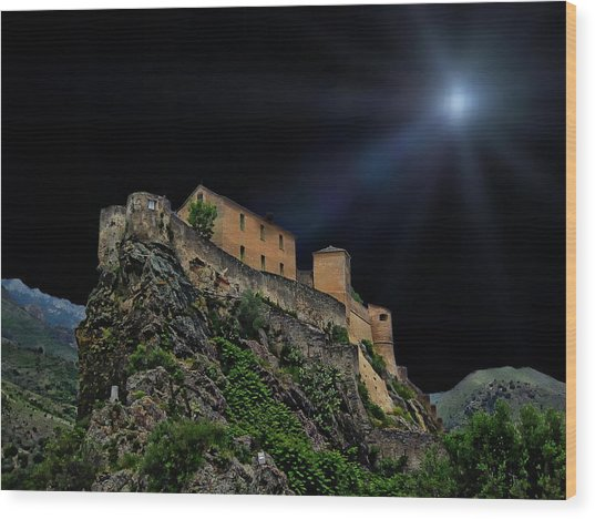 Moonlit Castle Wood Print