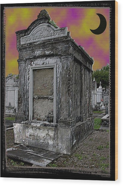 Moonlit Cemetary Wood Print by Linda Kish