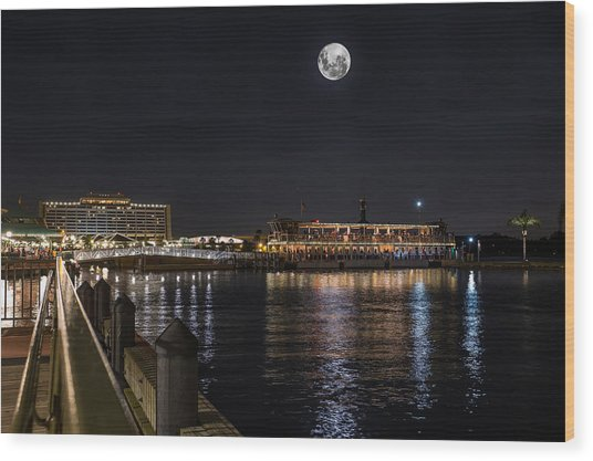 Moonlit Disney Contemporary Resort Wood Print