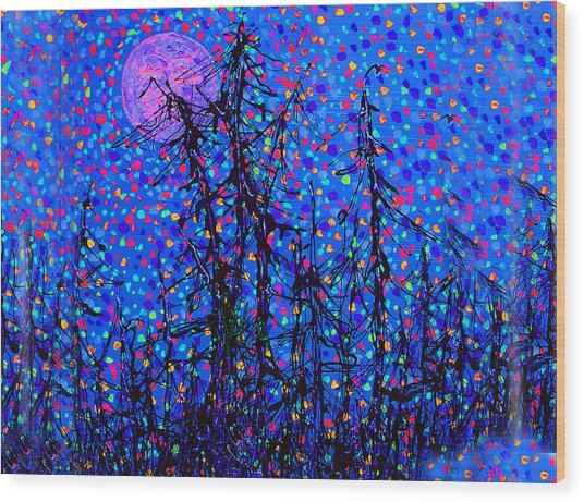 Moonlit Forest Wood Print