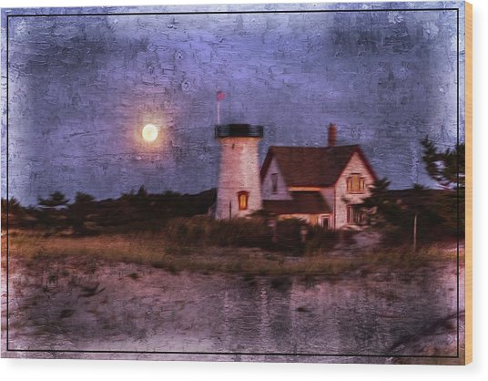Moonlit Harbor Wood Print