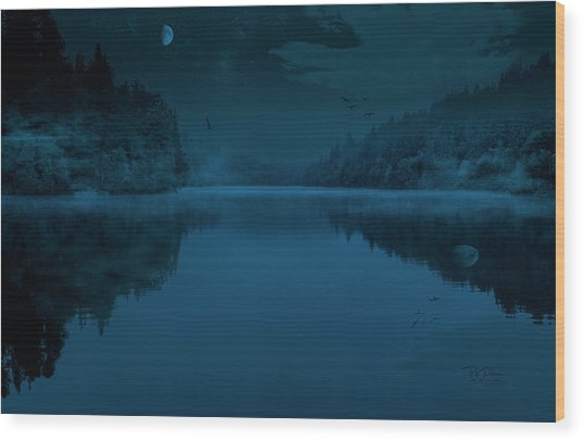 Moonlit Lake Wood Print