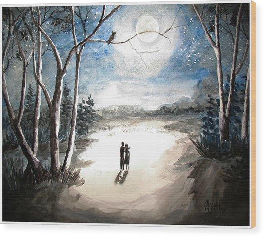Moonlit Night Sweet Memory Wood Print by Shashikanta Parida
