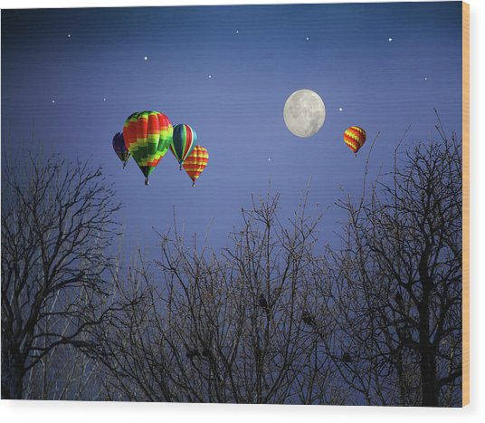 Moonlit Ride Wood Print