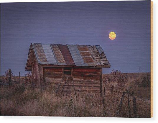 Moonlit Shed Wood Print