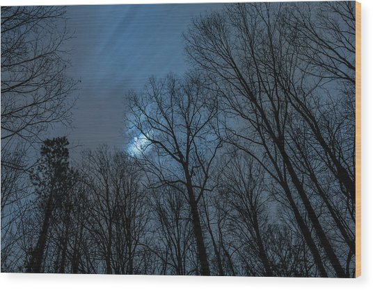 Moonlit Sky Wood Print