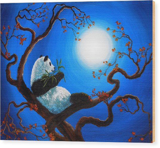 Moonlit Snack Wood Print