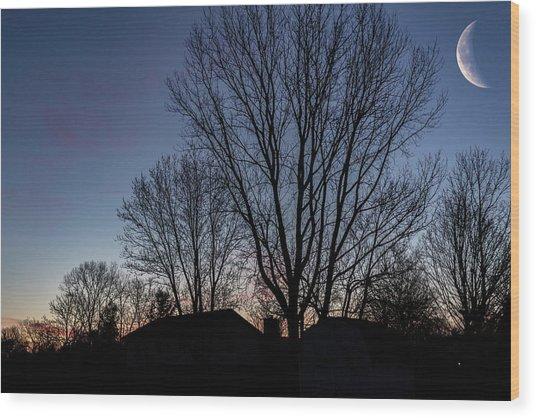 Moonlit Sunrise Wood Print