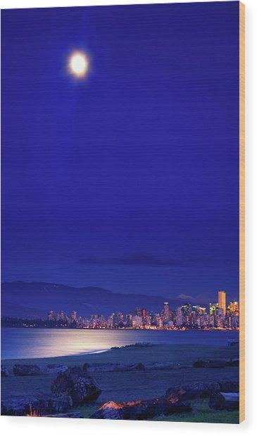 Moonlit Vancouver Wood Print by Paul Kloschinsky