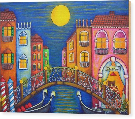 Moonlit Venice Wood Print