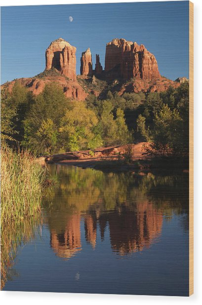 Moonrise Cathedral Rocks Wood Print