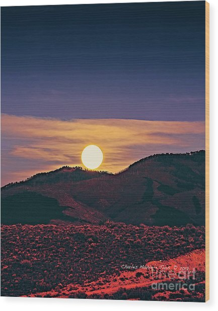 Moonrise In Northern New Mexico  Wood Print
