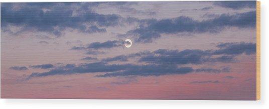 Moonrise In Pink Sky Wood Print