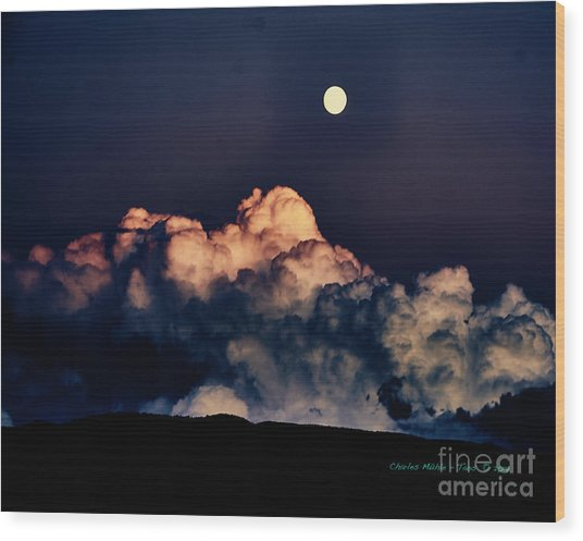 Moonrise In Taos Wood Print