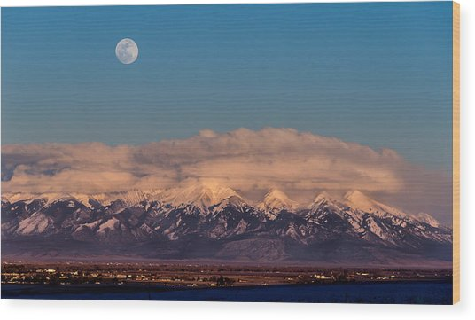 Moonrise Over Mount Blanca Winter San Luis Valley Colorado Wood Print