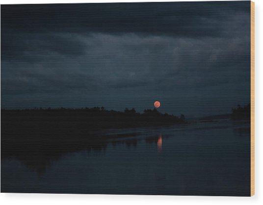 Moonrise Over Blue Hill Bay Wood Print