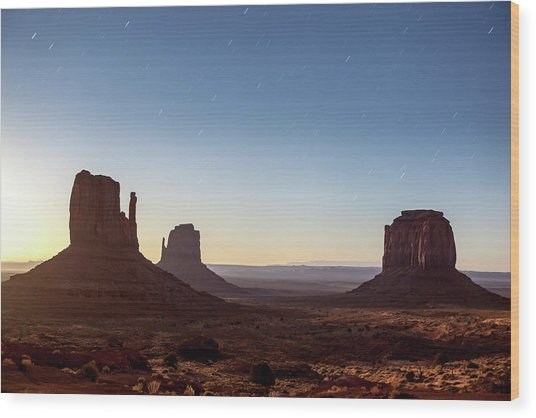 Moonrise Over Monument Valley Wood Print