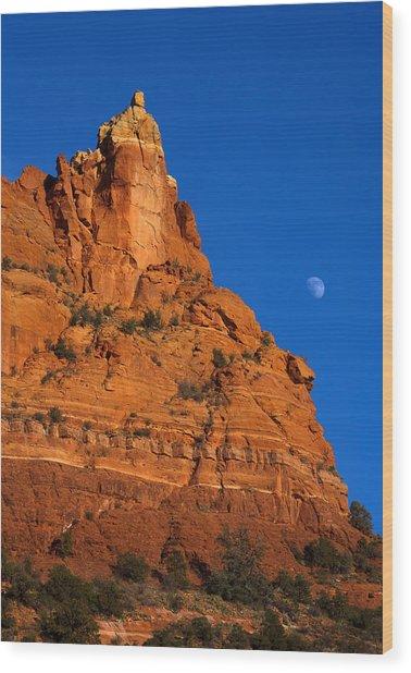 Moonrise Over Red Rock Wood Print