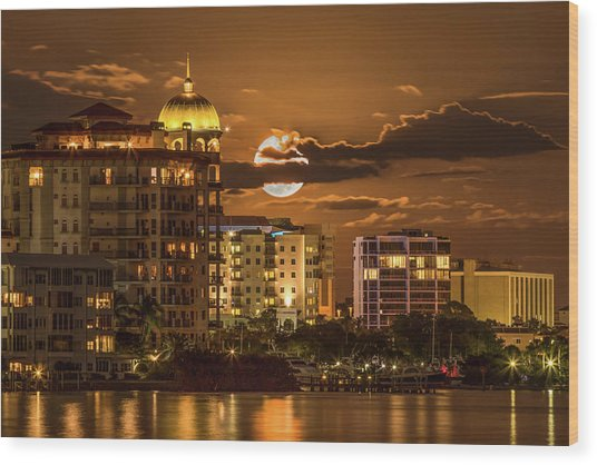 Moonrise Over Sarasota Wood Print