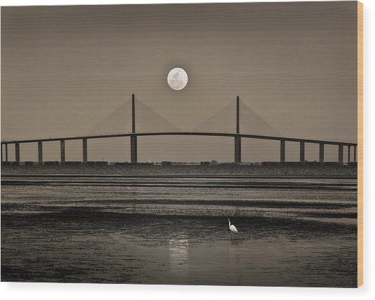 Moonrise Over Skyway Bridge Wood Print