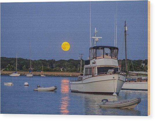 Moonrise Vineyard Haven Wood Print