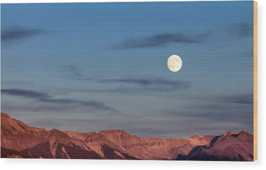Moonrise With Afterglow Wood Print