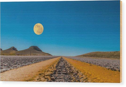 Moonrise Wyoming Wood Print