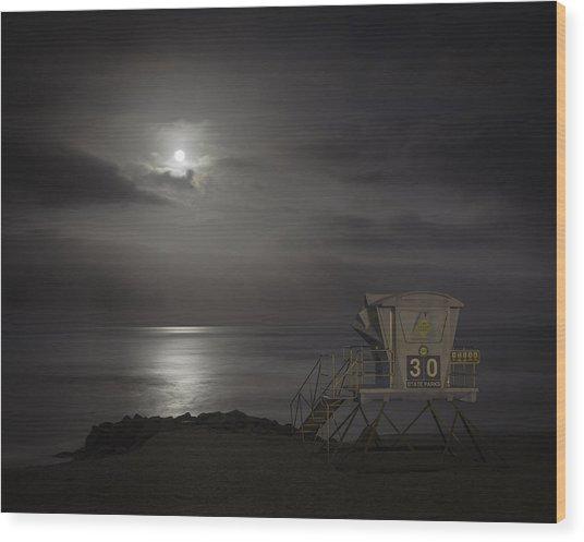 Moonset At Carlsbad Wood Print