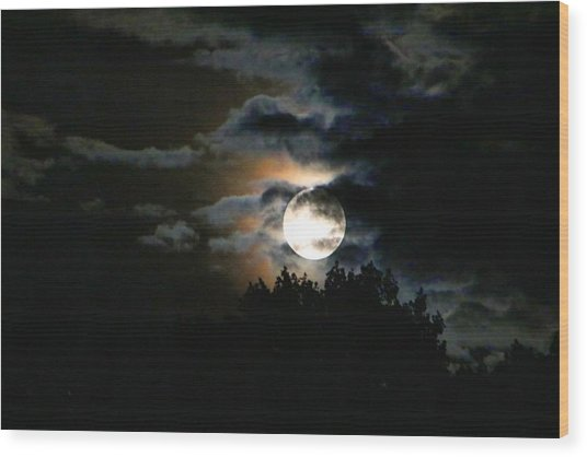 Moonset In The Clouds 2 Wood Print