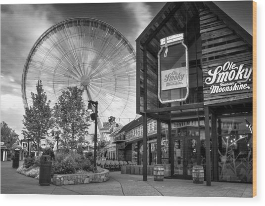 Moonshine And The Spinning Wheel In Black And White Wood Print