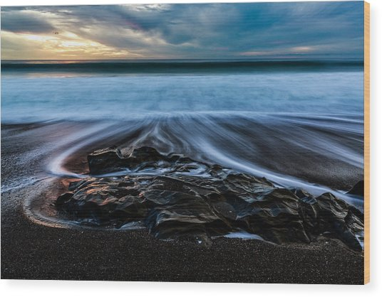 Moonstone Beach In The New Year Wood Print