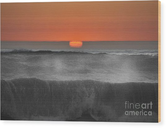 Moonstone Beach Sunset Wood Print