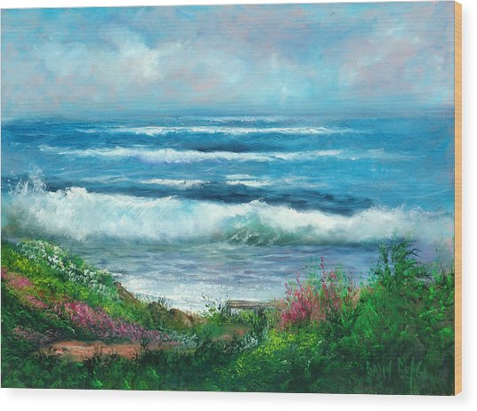 Moonstone Bench Wood Print by Sally Seago