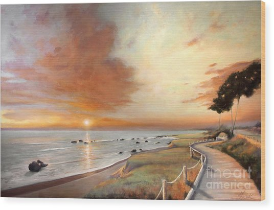 Moonstone Cambria Sunset Wood Print