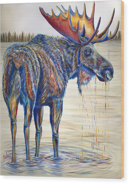 Moose Gathering, 2 Piece Diptych- Piece 1- Left Panel Wood Print