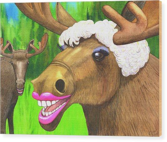 Moose Lips Wood Print