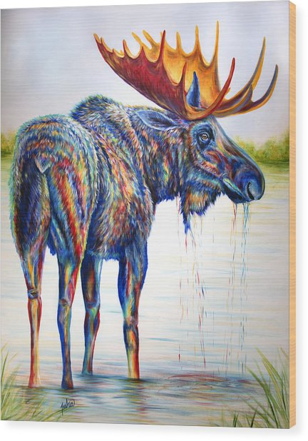 Moose Sighting Wood Print