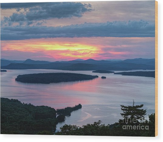 Mooselookmeguntic Lake In The Last Light Of Day - Rangeley Me  -63430 Wood Print