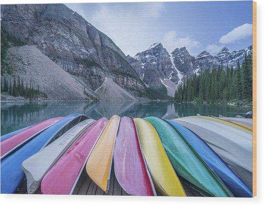 Moraine Lake Colors Wood Print