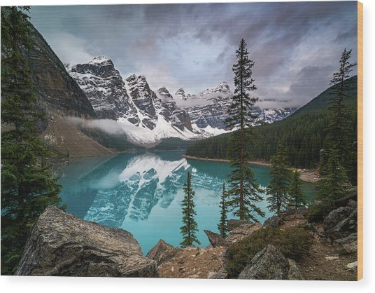 Moraine Lake In The Canadaian Rockies Wood Print